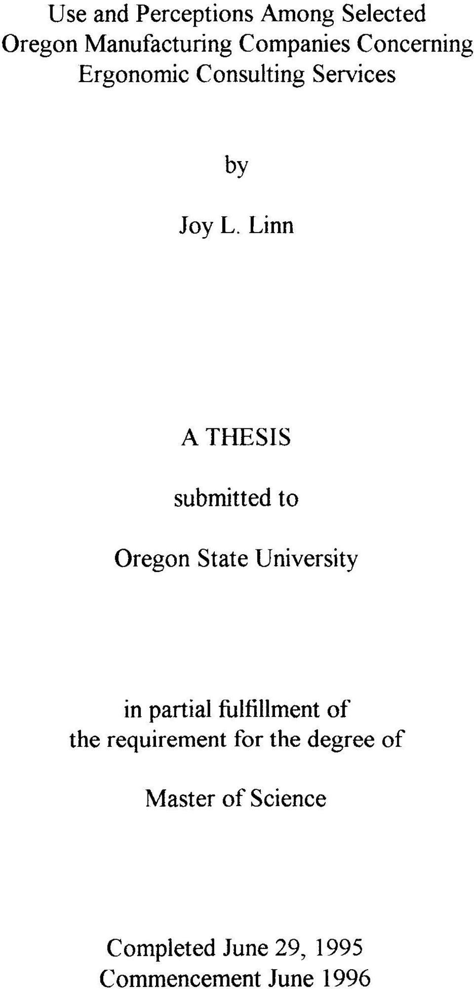 Linn A THESIS submitted to Oregon State University in partial