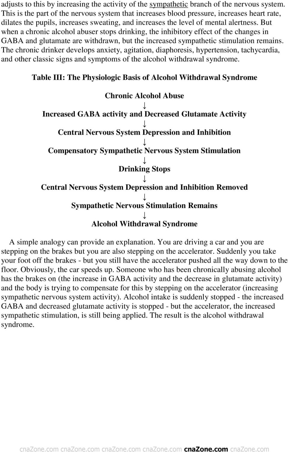 But when a chronic alcohol abuser stops drinking, the inhibitory effect of the changes in GABA and glutamate are withdrawn, but the increased sympathetic stimulation remains.