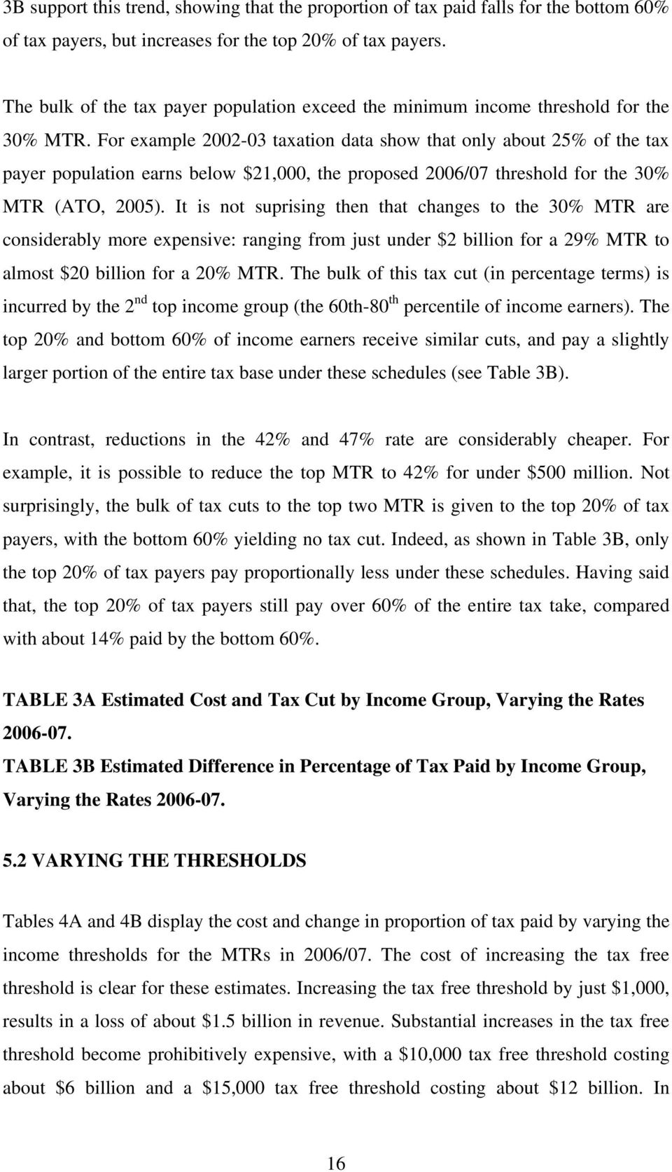 For example 2002-03 taxation data show that only about 25% of the tax payer population earns below $21,000, the proposed 2006/07 threshold for the 30% MTR (ATO, 2005).