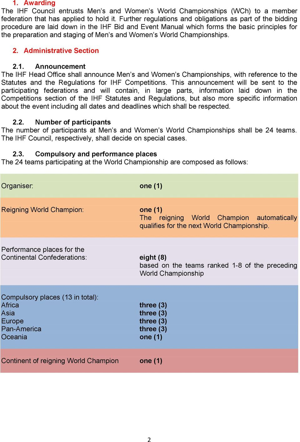 s World Championships. 2. Administrative Section 2.1.