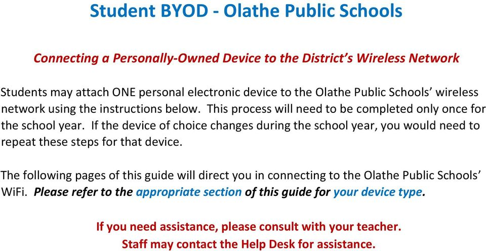 If the device of choice changes during the school year, you would need to repeat these steps for that device.