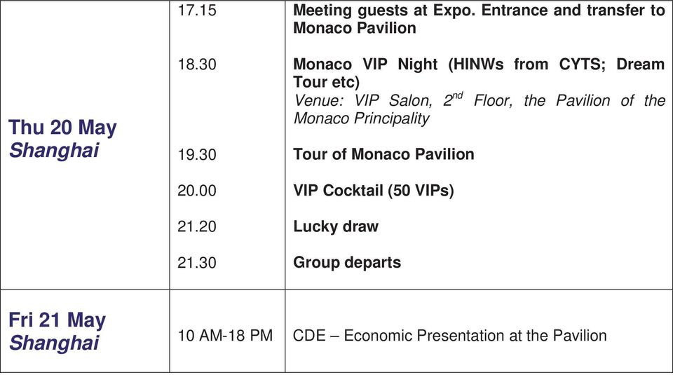 Venue: VIP Salon, 2 nd Floor, the Pavilion of the Monaco Principality Tour of Monaco Pavilion
