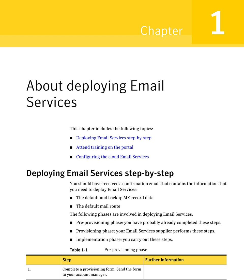 default mail route The following phases are involved in deploying Email Services: Pre-provisioning phase: you have probably already completed these steps.