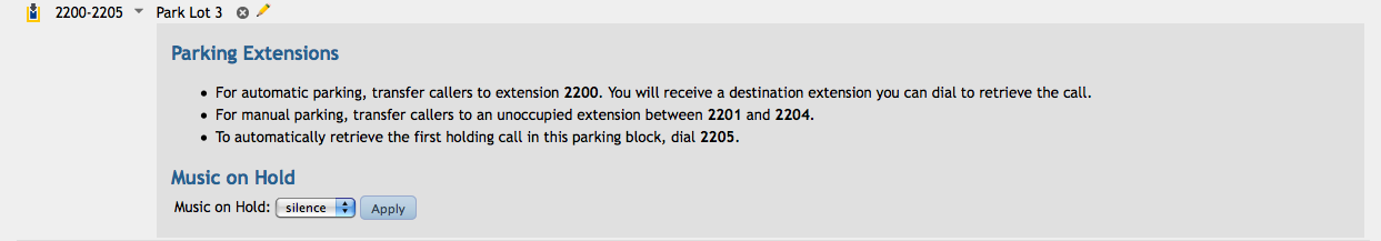 retrieve the call. The middle extensions in the block are manual call parking locations. Transfer a call to an unoccupied parking extension to park it. Dial the extension number to retrieve it.