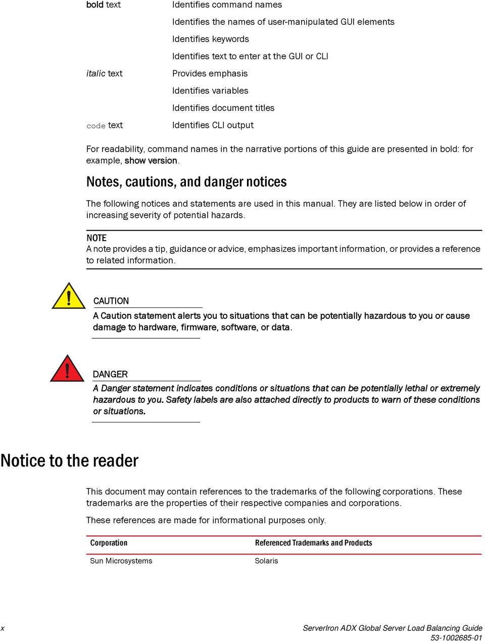 Notes, cautions, and danger notices The following notices and statements are used in this manual. They are listed below in order of increasing severity of potential hazards.