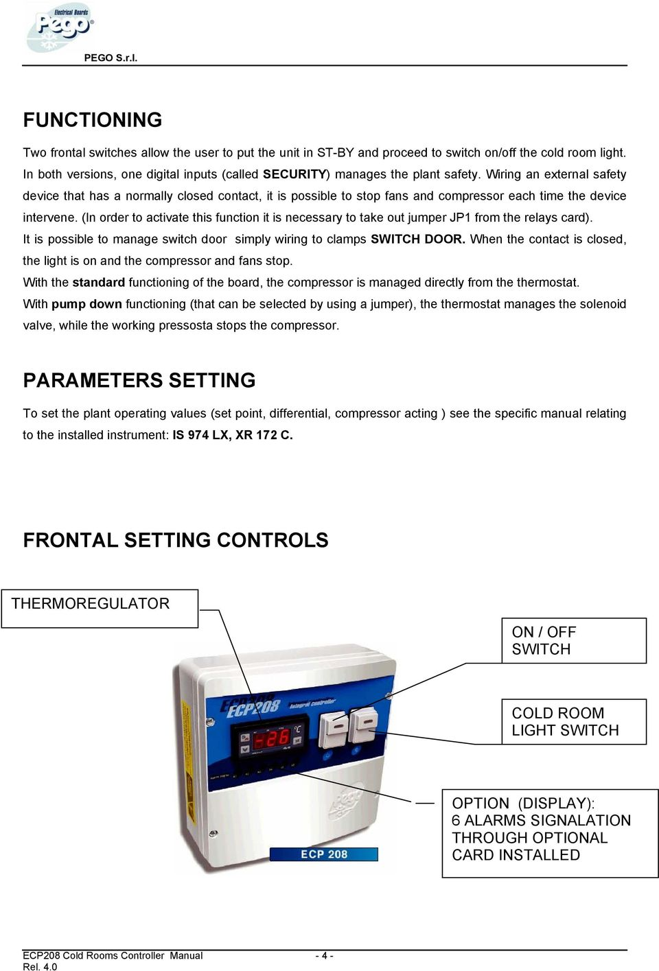 ecp 208 cold rooms controllers user s manual pdf wiring an external safety device that has a normally closed contact it is possible to