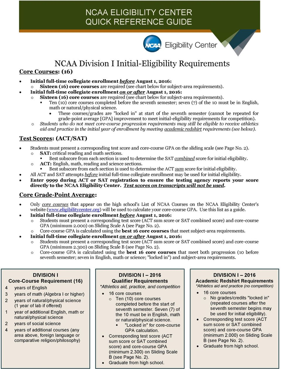 CENTRAL HIGH SCHOOL A Registration Guide for Students and Parents – Ncaa Eligibility Worksheet