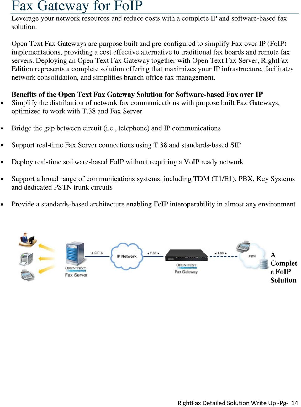 Deploying an Open Text Fax Gateway together with Open Text Fax Server, RightFax Edition represents a complete solution offering that maximizes your IP infrastructure, facilitates network
