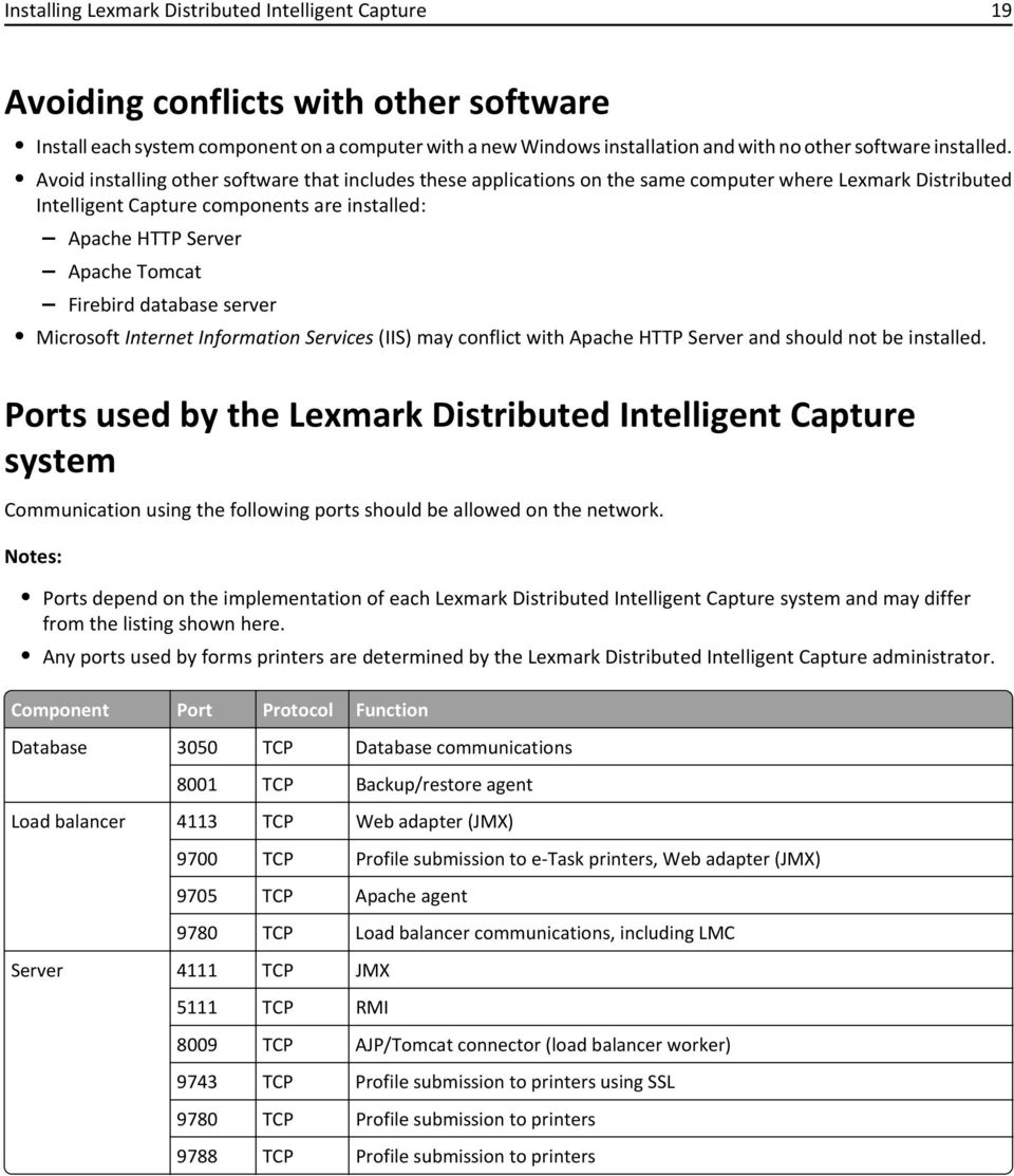 Avoid installing other software that includes these applications on the same computer where Lexmark Distributed Intelligent Capture components are installed: Apache HTTP Server Apache Tomcat Firebird