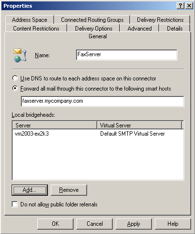 Chapter 6 SMTP Integration Procedure for Microsoft Exchange 2000/2003 This procedure shows how to create an SMTP Connector with address space of type FAX when you are using MS Exchange 2000 or 2003