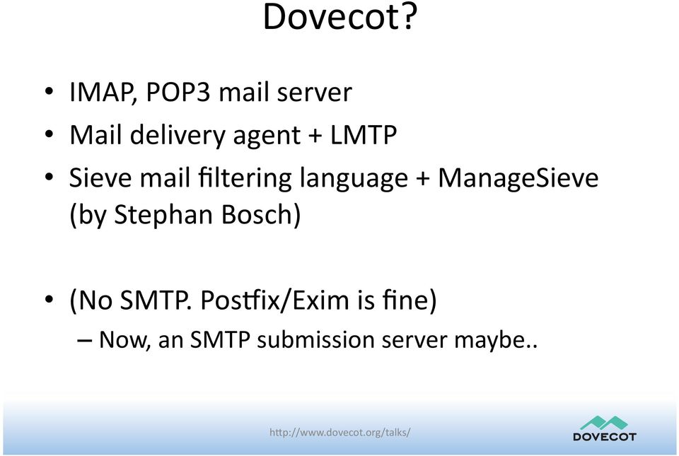 LMTP Sieve mail filtering language +
