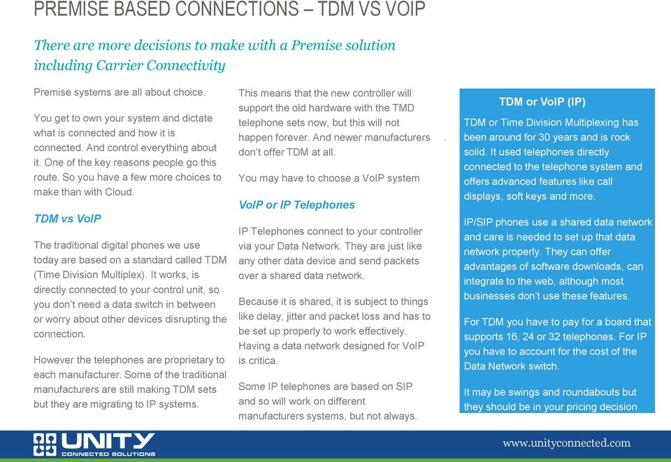 So you have a few more choices to make than with Cloud. TDM vs VoIP The traditional digital phones we use today are based on a standard called TDM (Time Division Multiplex).