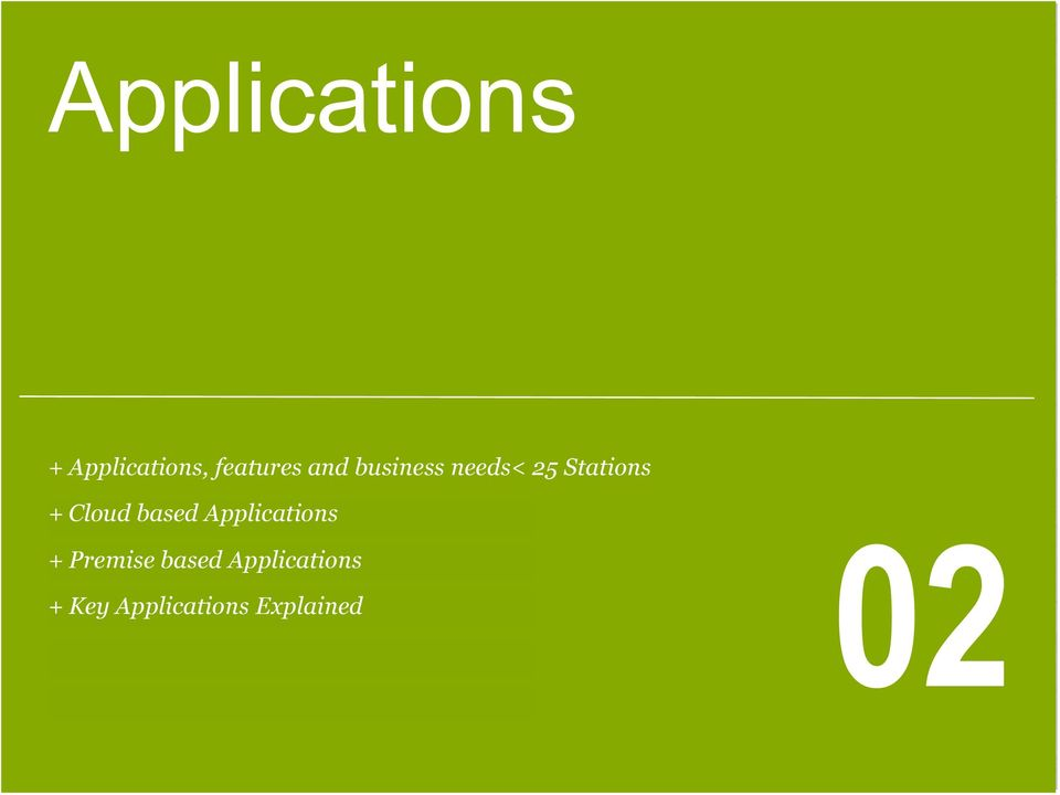 Applications + Premise based Applications +