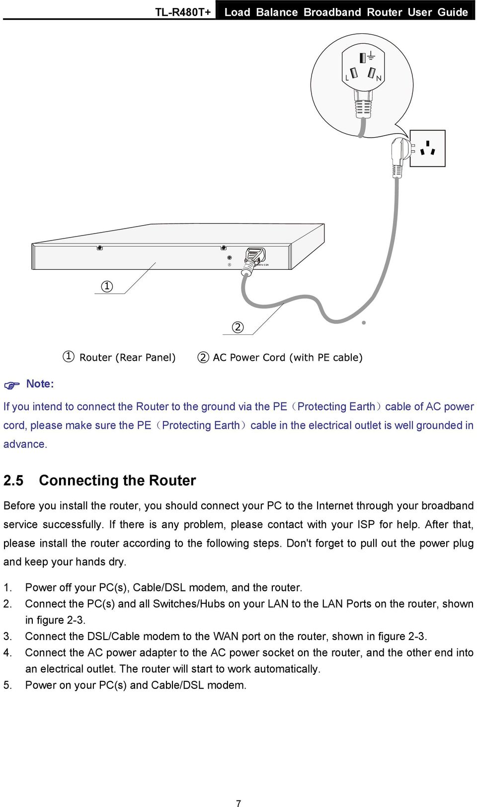 If there is any problem, please contact with your ISP for help. After that, please install the router according to the following steps. Don't forget to pull out the power plug and keep your hands dry.