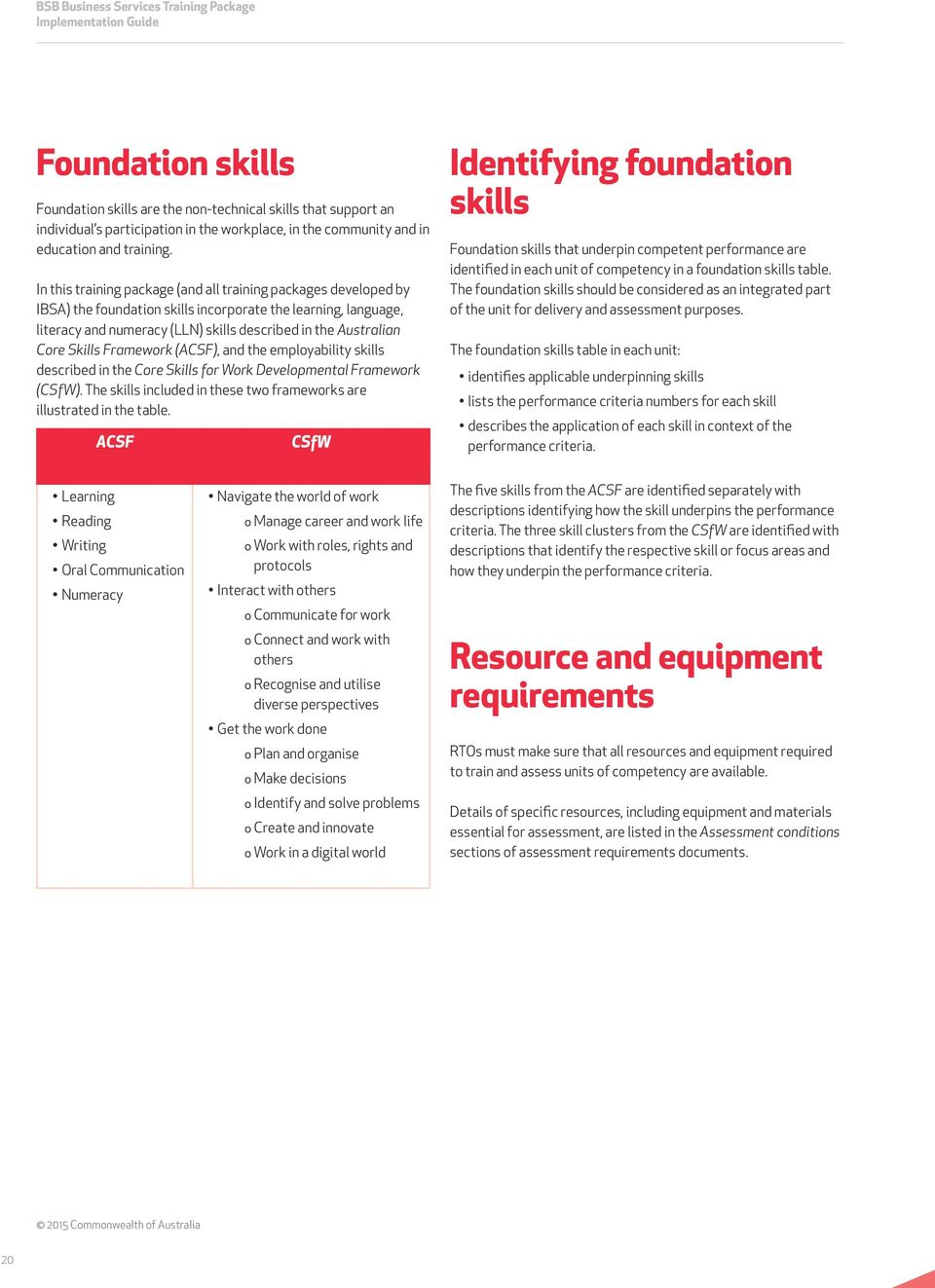 In this training package (and all training packages developed by IBSA) the foundation skills incorporate the learning, language, literacy and numeracy (LLN) skills described in the Australian Core