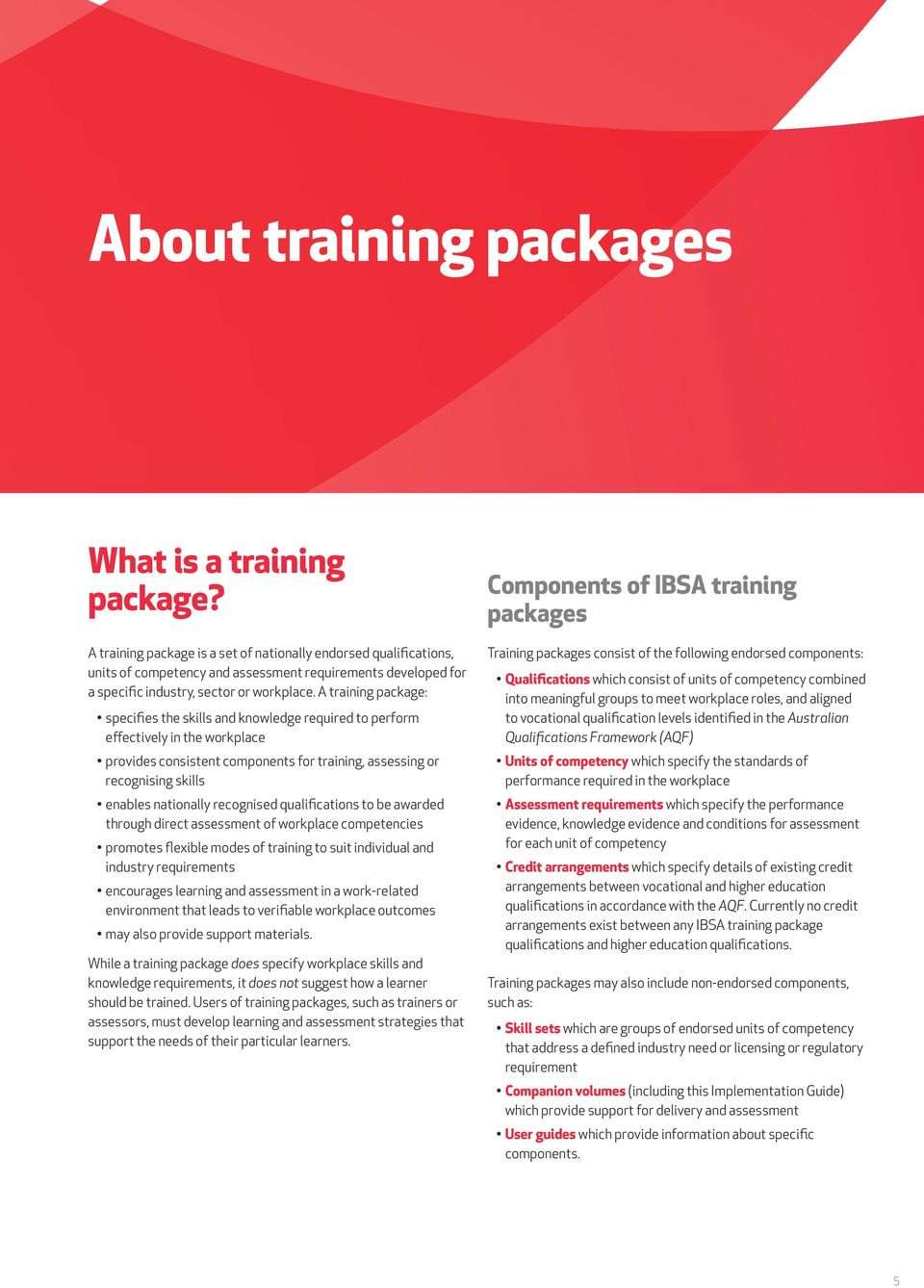 A training package: specifies the skills and knowledge required to perform effectively in the workplace provides consistent components for training, assessing or recognising skills enables nationally
