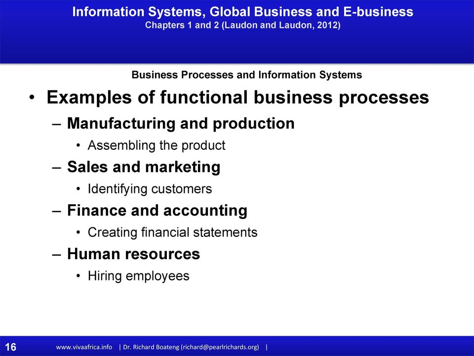 Creating financial statements Human resources Business Processes and Information