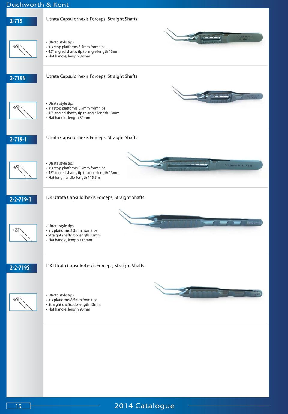 5mm from tips 45 angled shafts, tip to angle length 13mm Flat handle, length 84mm 2-719-1 Utrata Capsulorhexis Forceps, Straight Shafts Utrata style tips Iris stop platforms 8.