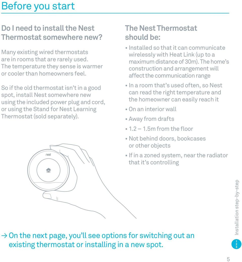 So if the old thermostat isn t in a good spot, install Nest somewhere new using the included power plug and cord, or using the Stand for Nest Learning Thermostat (sold separately).