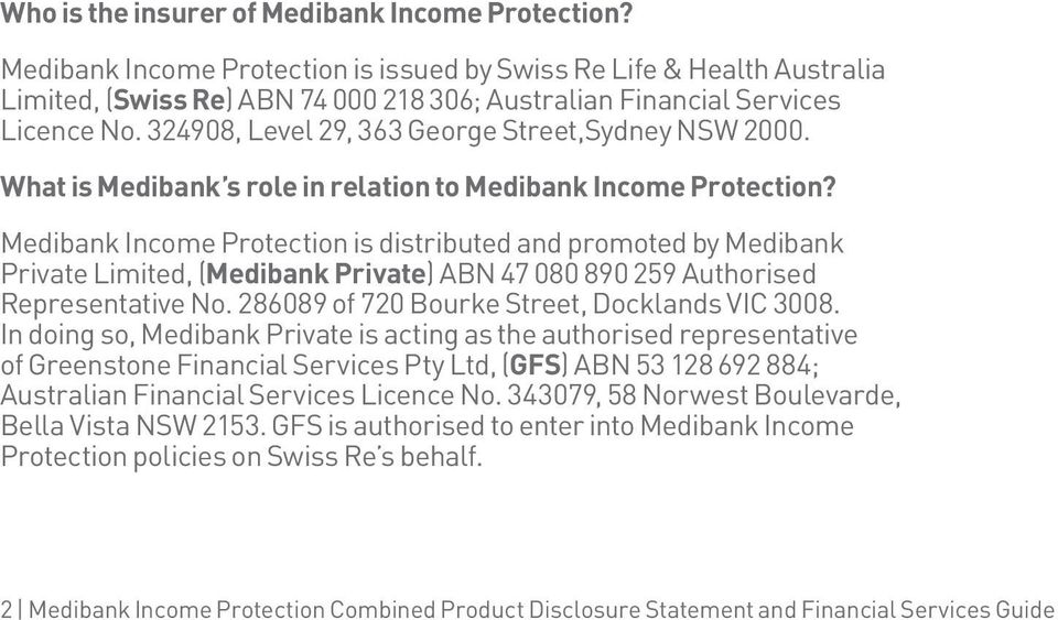 324908, Level 29, 363 George Street,Sydney NSW 2000. What is Medibank s role in relation to Medibank Income Protection?