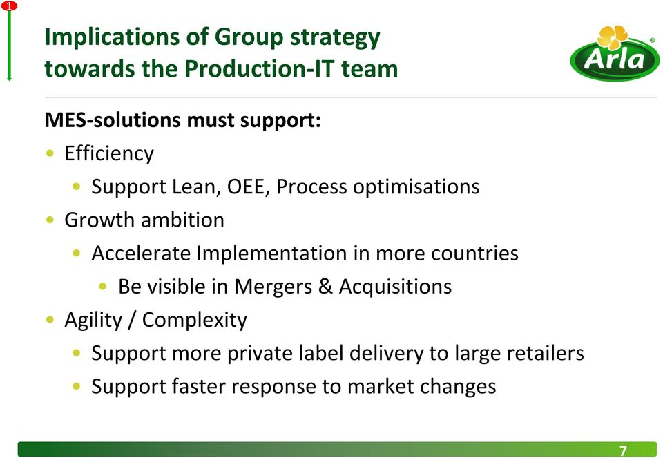 Implementation in more countries Be visible in Mergers& Acquisitions Agility /