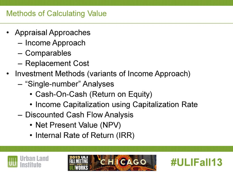 Analyses Cash-On-Cash (Return on Equity) Income Capitalization using