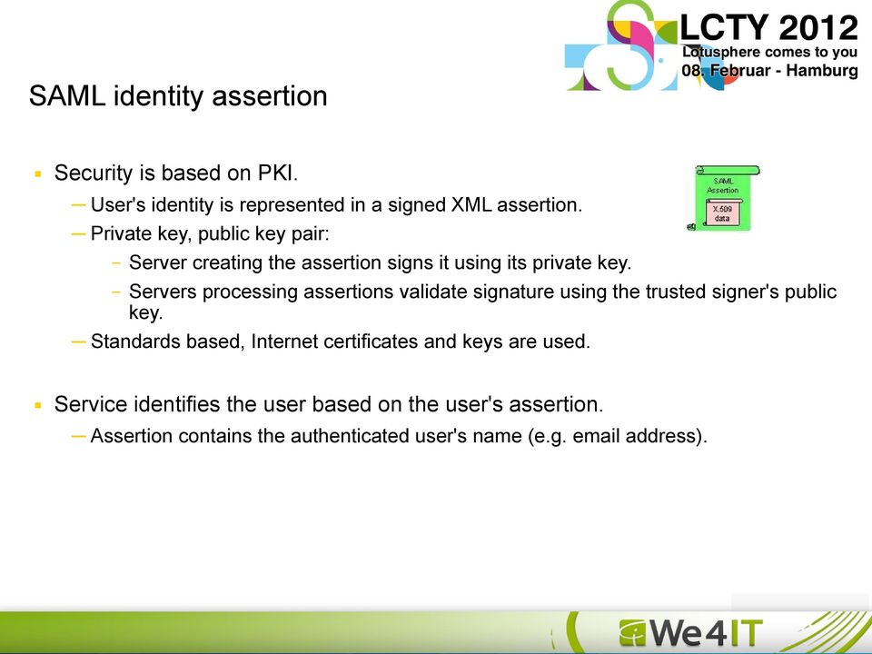 Servers processing assertions validate signature using the trusted signer's public key.