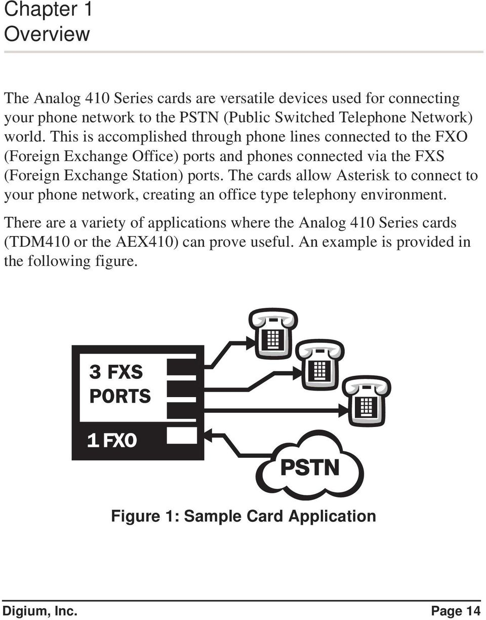 This is accomplished through phone lines connected to the FXO (Foreign Exchange Office) ports and phones connected via the FXS (Foreign Exchange Station) ports.