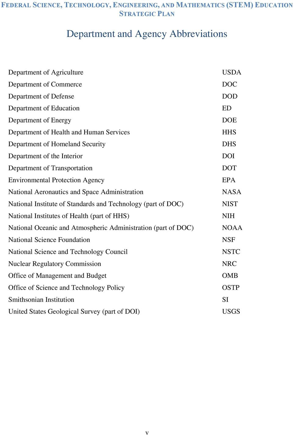 of DOC) National Institutes of Health (part of HHS) National Oceanic and Atmospheric Administration (part of DOC) National Science Foundation National Science and Technology Council Nuclear