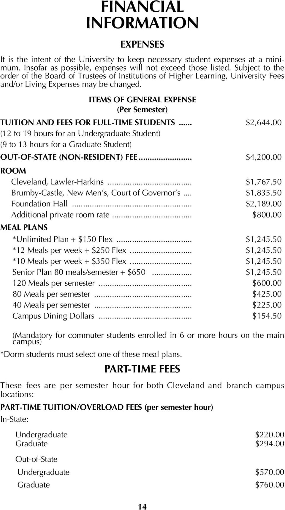 ITEMS OF GENERAL EXPENSE (Per Semester) TUITION AND FEES FOR FULL-TIME STUDENTS... $2,644.