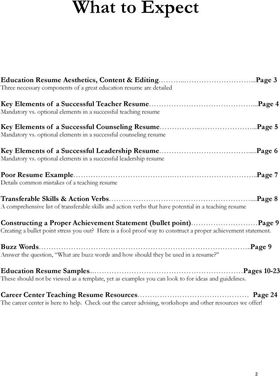 optional elements in a successful counseling resume Key Elements of a Successful Leadership Resume...Page 6 Mandatory vs. optional elements in a successful leadership resume Poor Resume Example.