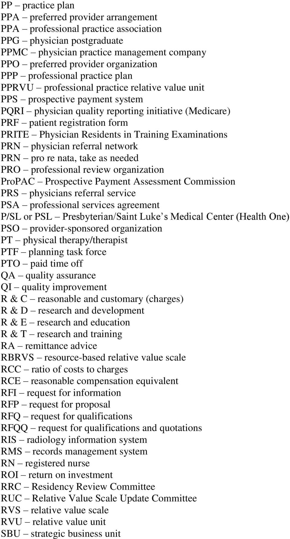 Physician Residents in Training Examinations PRN physician referral network PRN pro re nata, take as needed PRO professional review organization ProPAC Prospective Payment Assessment Commission PRS