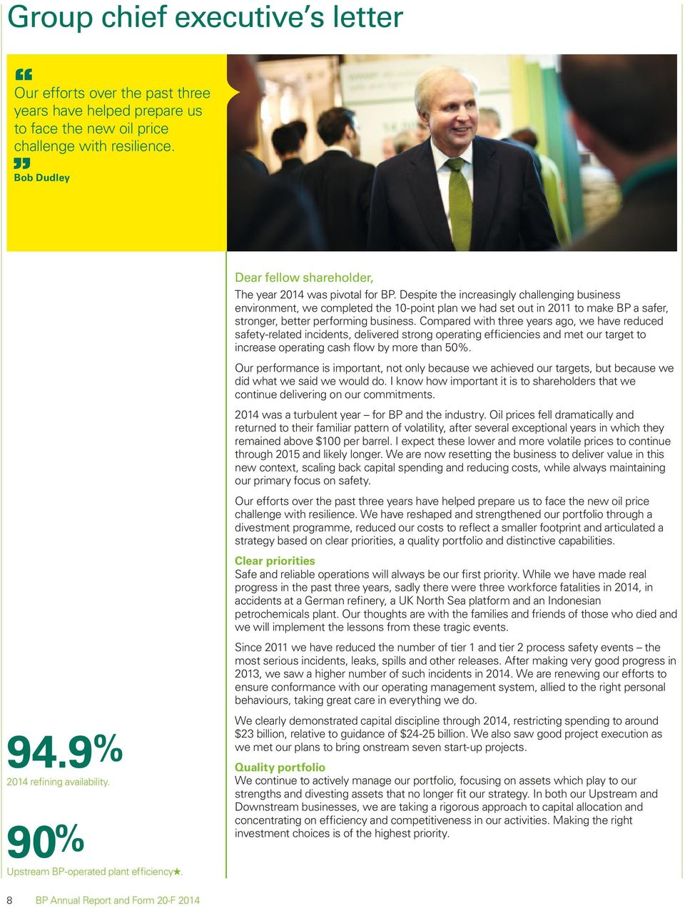 Despite the increasingly challenging business environment, we completed the 10-point plan we had set out in 2011 to make BP a safer, stronger, better performing business.