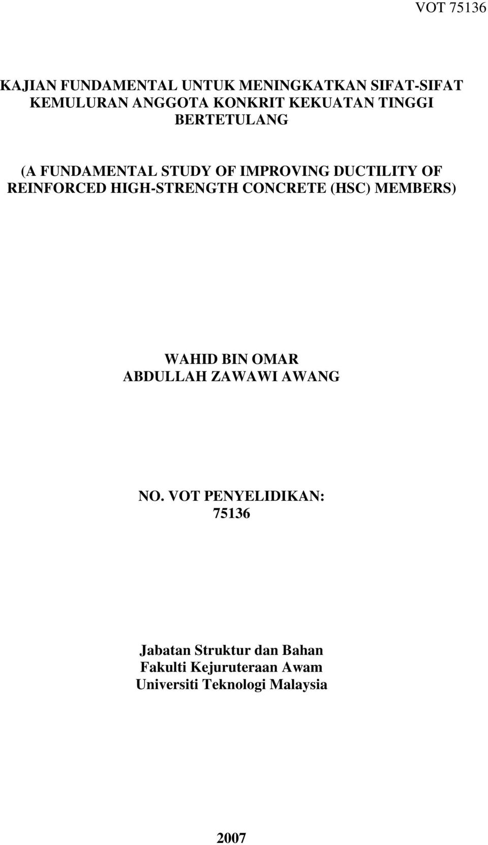 HIGH-STRENGTH CONCRETE (HSC) MEMBERS) WAHID BIN OMAR ABDULLAH ZAWAWI AWANG NO.