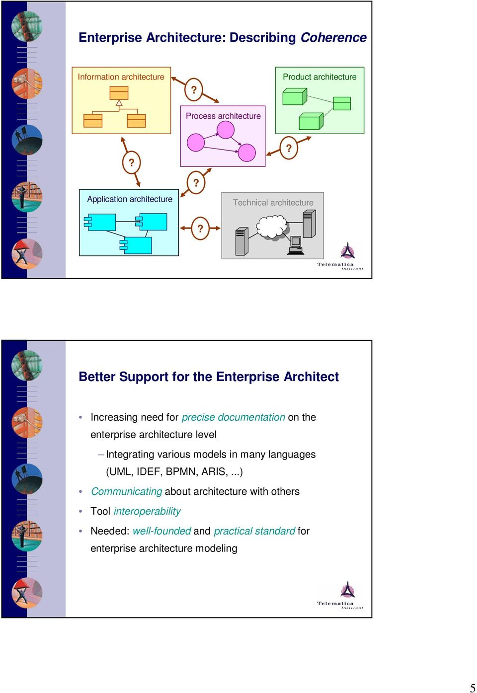 Better Support for the Enterprise Architect Increasing need for precise documentation on the enterprise architecture level