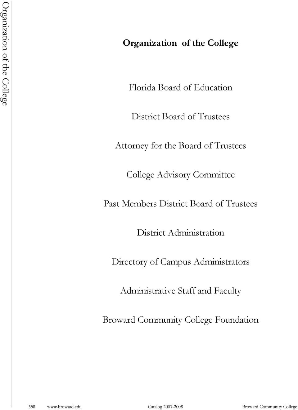 Board of Trustees District Administration Directory of Campus Administrators