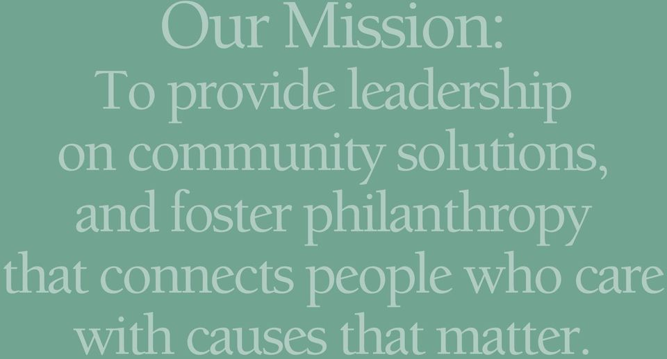 philanthropy that connects people
