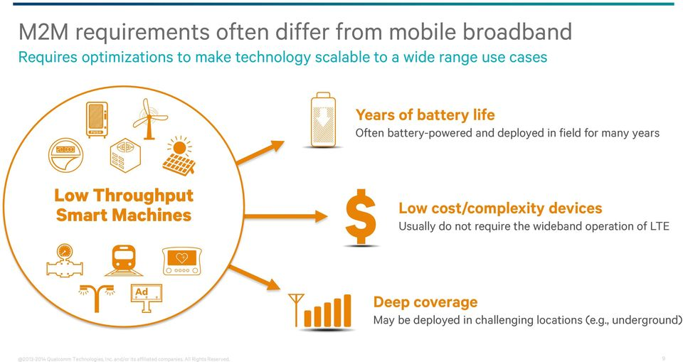 cost/complexity devices Usually do not require the wideband operation of LTE Deep coverage May be deployed in challenging