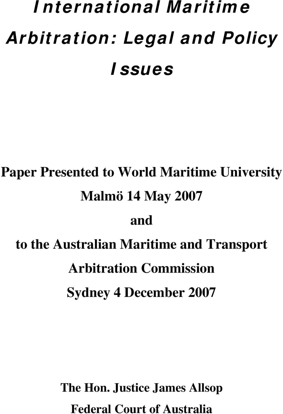 to the Australian Maritime and Transport Commission Sydney 4