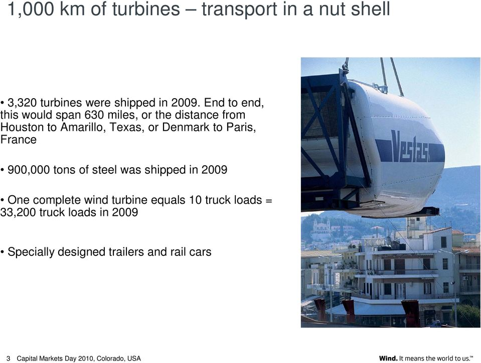 Denmark to Paris, France 900,000 tons of steel was shipped in 2009 One complete wind