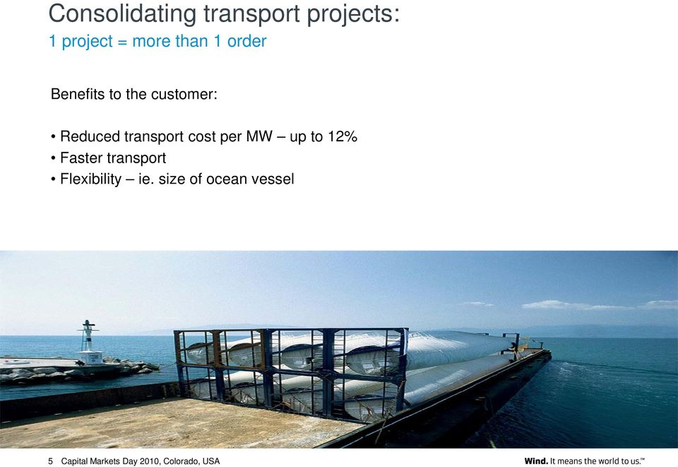 Reduced transport cost per MW up to 12% Faster