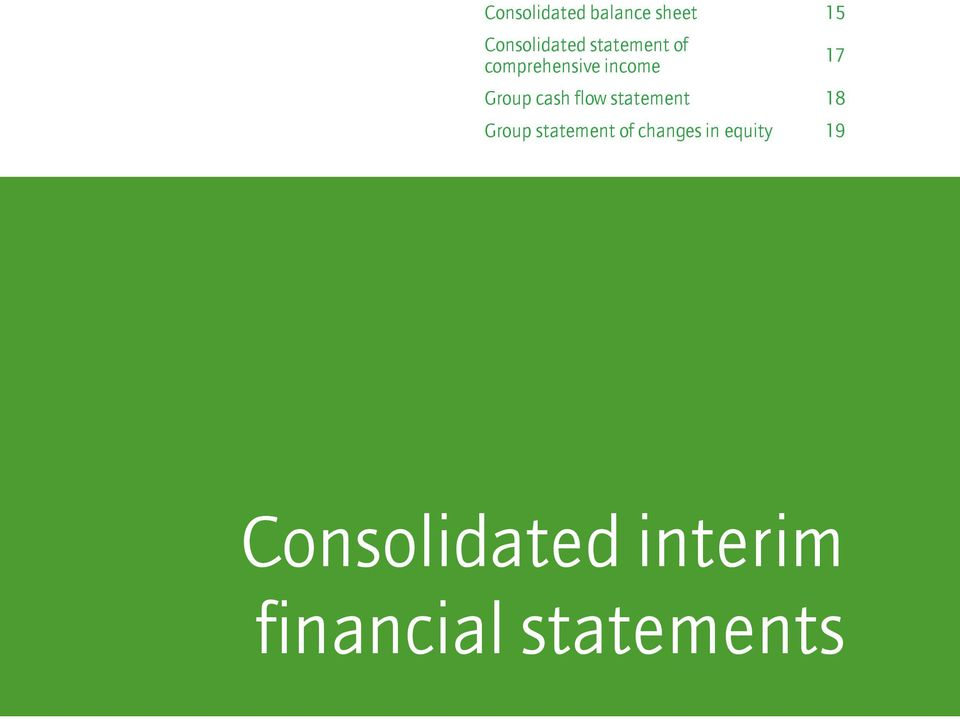 equity 19 Consolidated interim Notes Consolidated interim financial