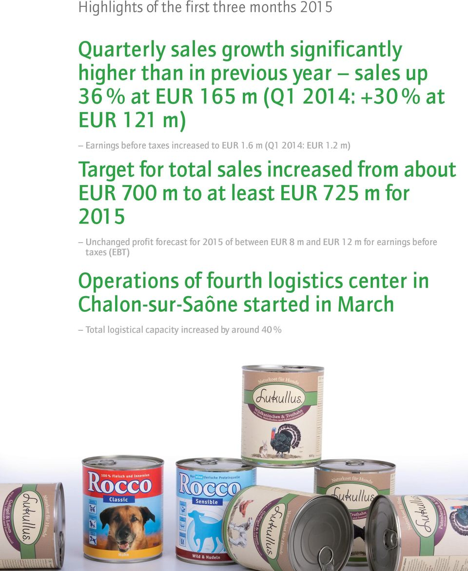 2 m) Target for total sales increased from about EUR 700 m to at least EUR 725 m for 2015 Unchanged profit forecast for 2015 of