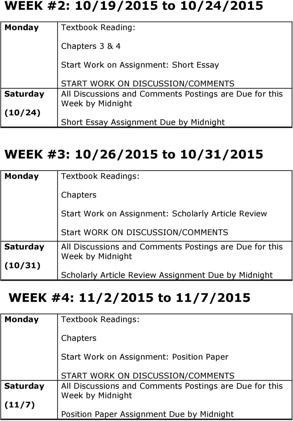 Review Start WORK ON DISCUSSION/COMMENTS Saturday (10/31) All Discussions and Comments Postings are Due for this Week by Midnight Scholarly Article Review Assignment Due by Midnight WEEK #4: