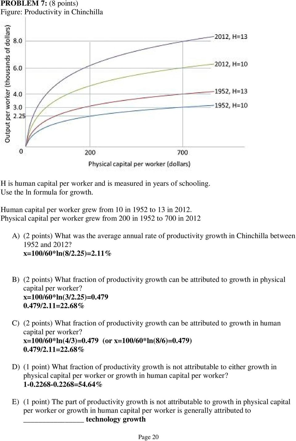 Physical capital per worker grew from 200 in 1952 to 700 in 2012 A) (2 points) What was the average annual rate of productivity growth in Chinchilla between 1952 and 2012? x=100/60*ln(8/2.25)=2.