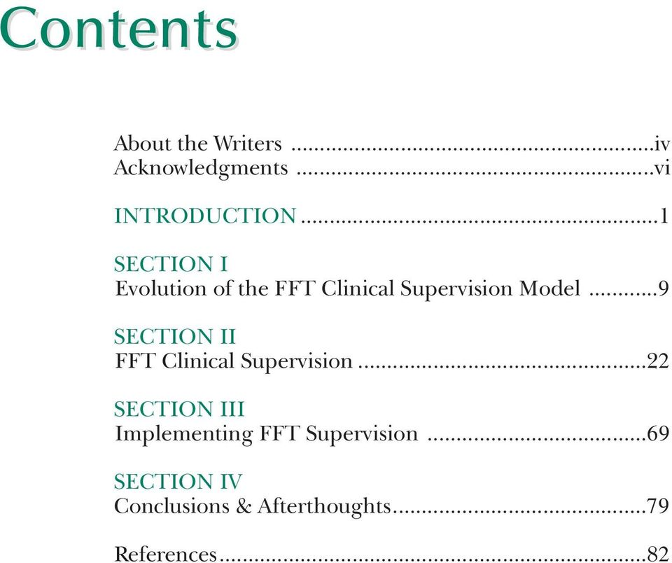 ..9 SECTION II FFT Clinical Supervision.