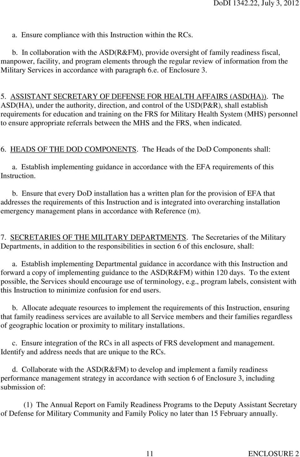 accordance with paragraph 6.e. of Enclosure 3. 5. ASSISTANT SECRETARY OF DEFENSE FOR HEALTH AFFAIRS (ASD(HA)).