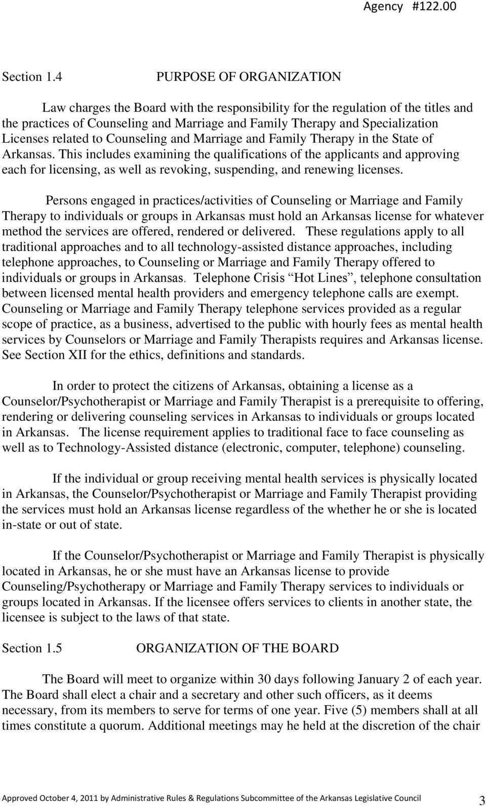 related to Counseling and Marriage and Family Therapy in the State of Arkansas.