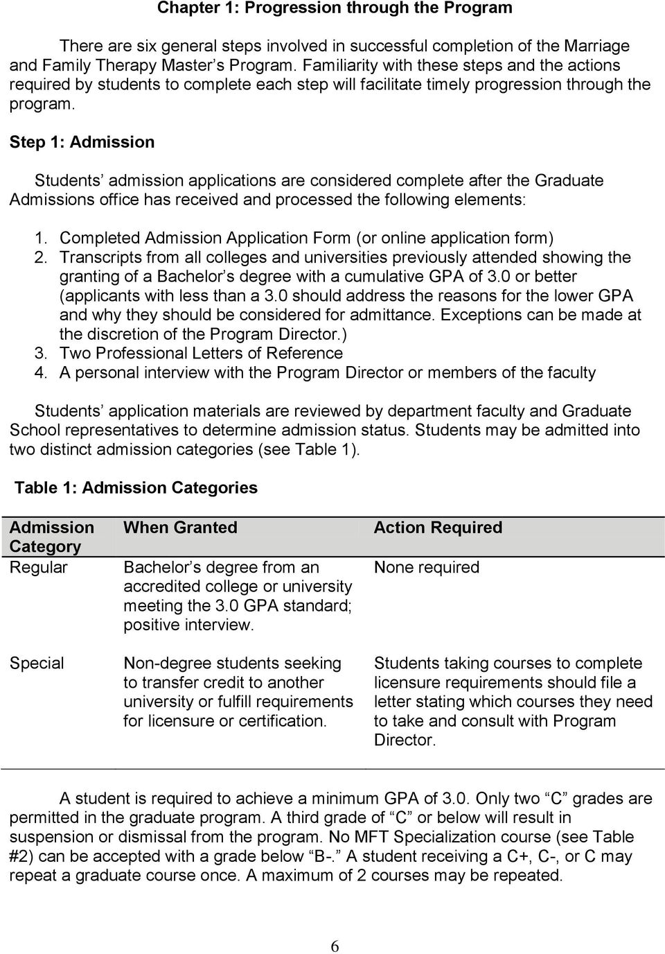 Step 1: Admission Students admission applications are considered complete after the Graduate Admissions office has received and processed the following elements: 1.