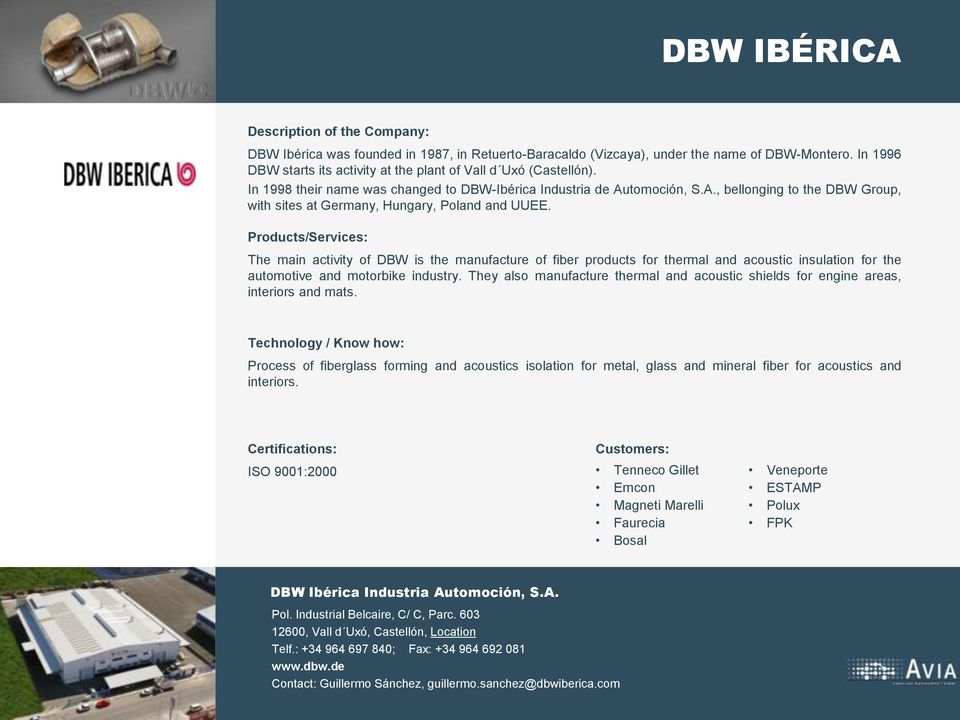 The main activity of DBW is the manufacture of fiber products for thermal and acoustic insulation for the automotive and motorbike industry.